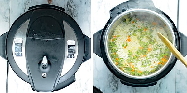 Cooking time is important for making vegetable pulav. Close the lid and set the cooking time manually for 6 minutes. Once the cooking time ends, quick release the steam. And open the top and give a gentle stir.