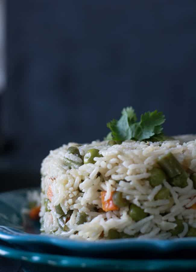 This simple vegetable pulao tastes excellent without any massive list of spices. This everyday comfortable rice is made minimal in such a way that it should also delectable with very mild additives. This tastes magnificent with the pleasing flavor of the basmati rice and a hint fennel seeds aroma