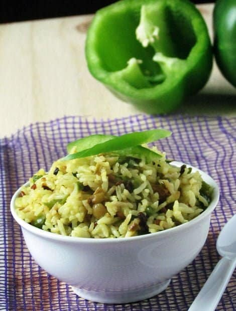 Easy Indian Capsicum Rice Recipe-Green Pepper Rice