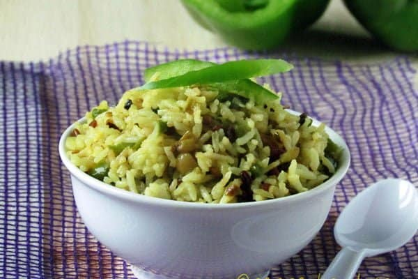 Easy Indian Capsicum Rice Recipe-Green Pepper Rice
