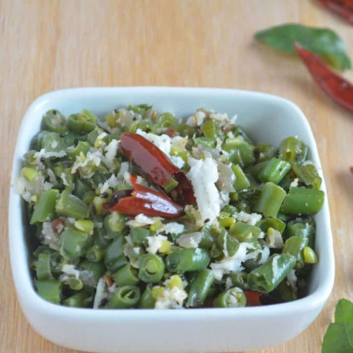 Beans Poriyal/Indian green bean stir fry gets cooked easily