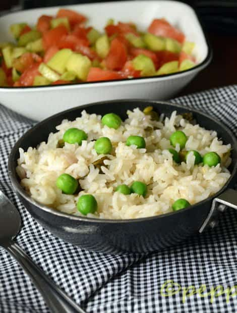 Green Peas Pulao-A Perfect Lunch Box Recipe