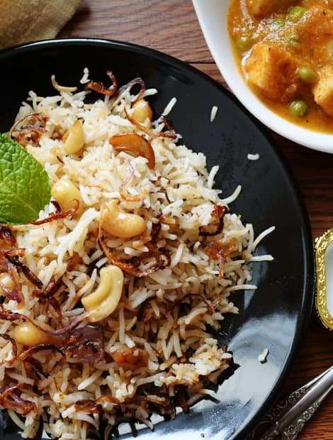 Bagara Rice is a Simplified version of Hyderabadi style Biryani. If you are running out of time or wish to make simpler everyday food, then this recipe might be your best choice. Though it is simpler to make, it is equally as good as Biryani.