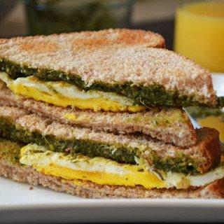 Coriander Bread Sandwich-a Healthy Breakfast