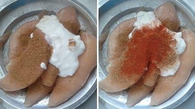 To make simple quick and easy Tandoori chicken recipe-Wash and clean chicken breast, add Tandoori chicken masala, curd, salt.