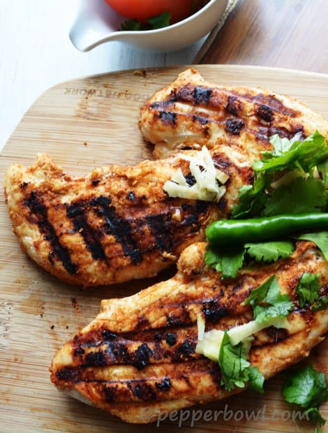 Tandoori Grilled Chicken Breast with  homemade tandoori chicken masala.