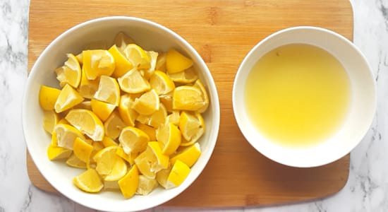 Chop the lemons into 8 pieces or 12 pieces