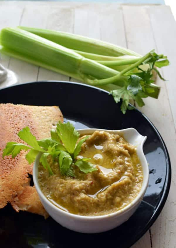 celery chutney recipe-healthy breakfast side dish