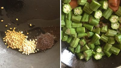 seasoning for puli kulambu with mustard seeds, urad dal and fenugreek seeds.