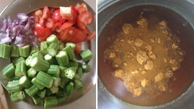 for making Vendaikkai puli kuzhambu, Wash and clean okra/ladies finger. Chop onion and tomatoes finely and keep them ready.