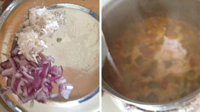 Add the ground mixture to the boiling vendakkai puli kuzhambu