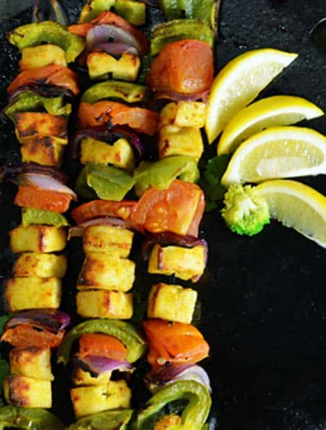 Make this paneer tikka in the oven and serve hot as the appetizer along with lemon, mint chutney.