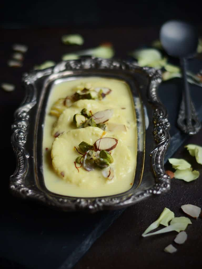 We are modifying the authentic Bengali  dish turning ricotta cheese Rasmalai.