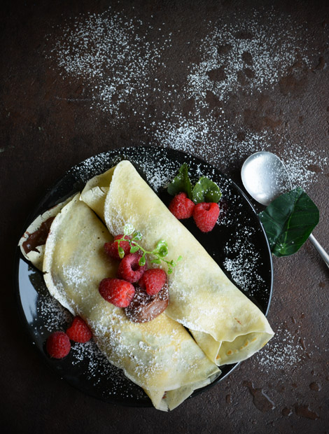 Raspberry Crepe filled with Nutella