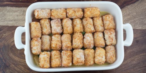 tarter tots arranged evenly on the top.