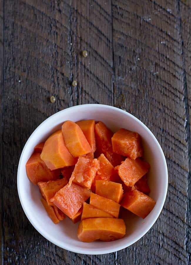 papaya cubes ready for the smoothie