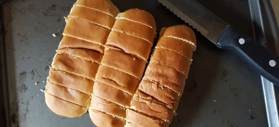 bread is sliced to bite size.