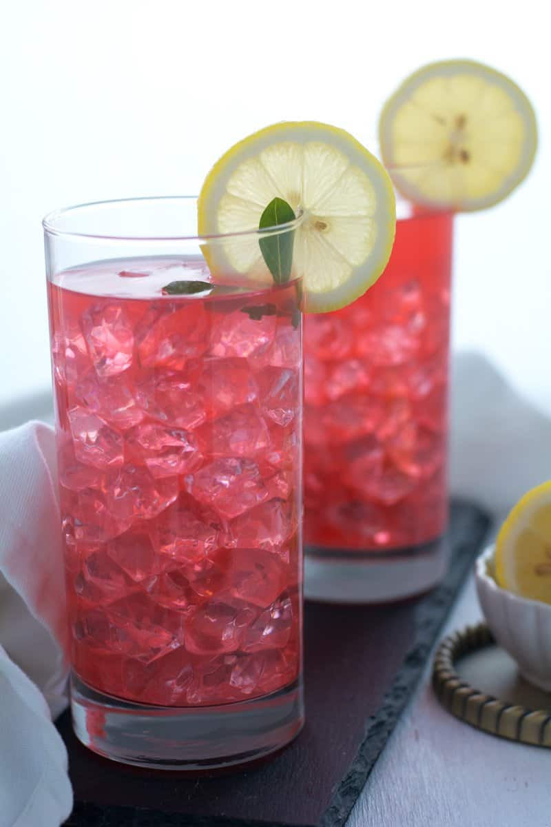 Serving Ideas of watermelon mint lemonade, with ice cubes, with sparkling water, or with coconut water. The variation for making this summer drink are, fresh cut fruits, lime juice, jalapeno, mint leaves, cucumber.
