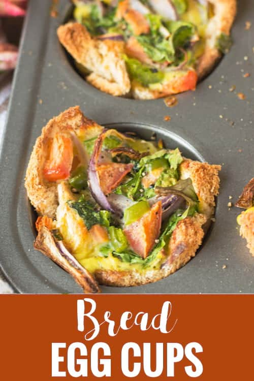 Breakfast Cups recipe is made with bread, egg, spinach and veggies. A tasty freezer friendly finger food baked in muffin tin. Perfect for kids and a great breakfast on go. Suitable for brunch also.