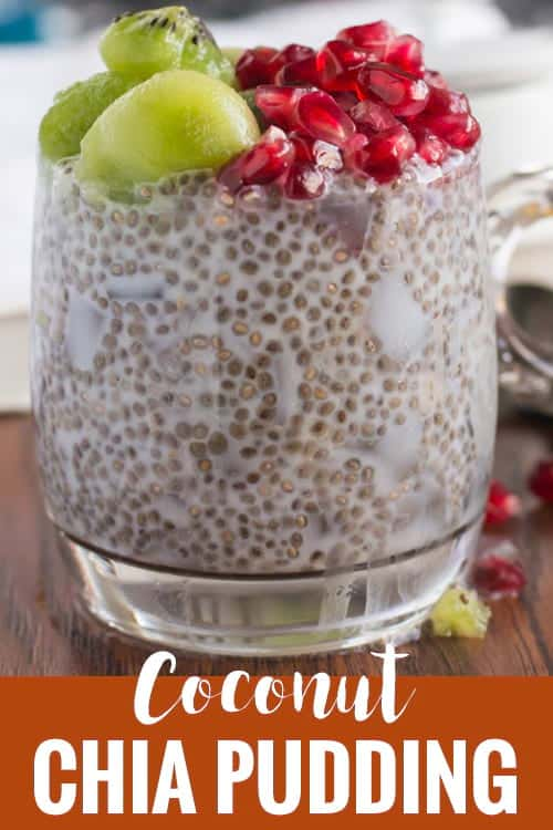 Coconut chia pudding recipe, a healthy, vegan breakfast. Made with coconut milk and fresh fruits like kiwi, and pomegranate. So, it is paleo and whole 30 diet. A best single serving make ahead, no cook dish. Tastes delicious even without sugar.