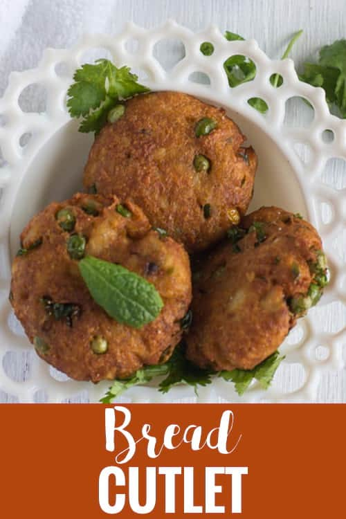 Bread Cutlet recipe is quick and instant Indian style tea time snack. Perfect to serve for kids, family and parties. Made with bread, potato, green peas and carrot. This tikki is deep fried dish with loads of vegetables.