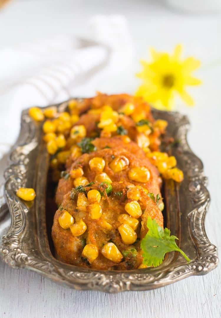 Corn Cutlet Recipe, delicious crispy snack best to serve in the tea time, made with mashed potato, sweet corn kernels and spices. This recipe is with step by step pictures to make it quick and easy.