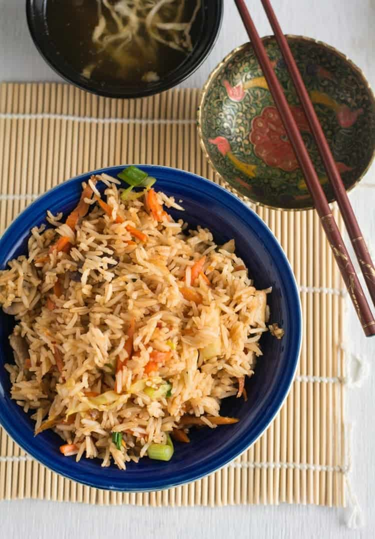 This spicy Schezwan fried rice is made with vegetables. Learn how to make this easily with few ingredients.
