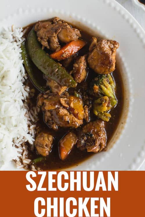 Asian Szechuan chicken is so delicious and spicy. You can make your own homemade authentic Chinese style dinner in less than 20 minutes. This easy sauce is best with noodles, pasta and lo mein. Made with stir fry vegetables like green bean, broccoli and red peppers.