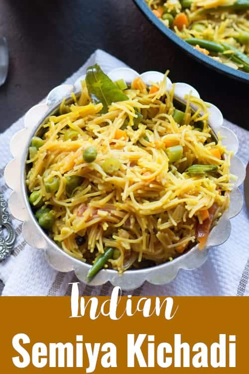 Semiya kichadi recipe / vegetable semiya upma made in South Indian style. Perfect for weekend breakfast or busy dinners. Explained with step by step pictures and tips.