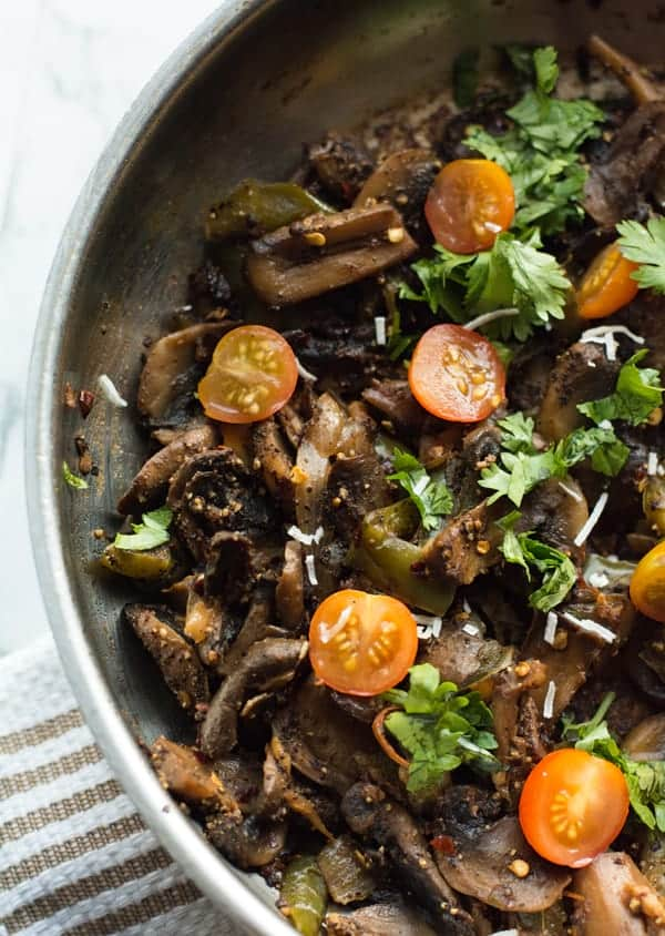Vegan Mushroom pepper fry made with fresh button mushrooms, perfect for busy week nights.