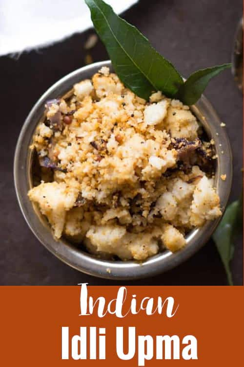 Idli upma recipe, made with leftover idlies. Simple and easy South Indian breakfast recipe made in 15 minutes. Great for the family on the busy days.