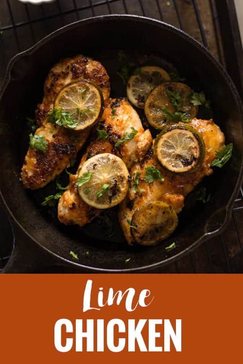 BEST lime chicken recipe on skillet is an healthy, easy dinner with simple marinade. A low carb meal made under 30 minutes, paleo and whole 30 too. And you get delicious tender and juicy chicken.