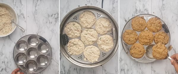 Step 4 for oats idli. Steaming: In the idli moulds, apply few drops of oil and grease them well. Steam for 10 minutes