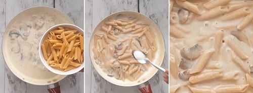 Adding pasta to cream of mushroom pasta sauce