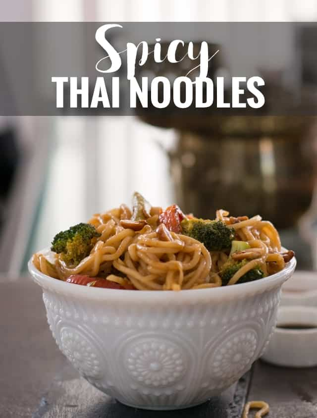 One pot Spicy Thai noodles recipe is made with peanuts, soy sauce, and sriracha sauce. This is a healthy, vegan and vegetarian recipe of Pad Thai. Make this recipe at home to enjoy delicious restaurant style Pad Thai food. A perfect weekend dinner that can be homemade effortlessly.