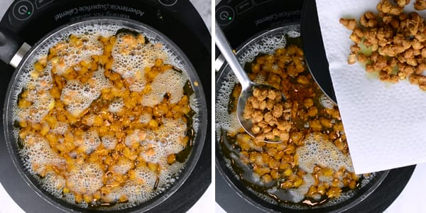 transfer deep fried peanuts to kitchen towel and store it in air tight containers.