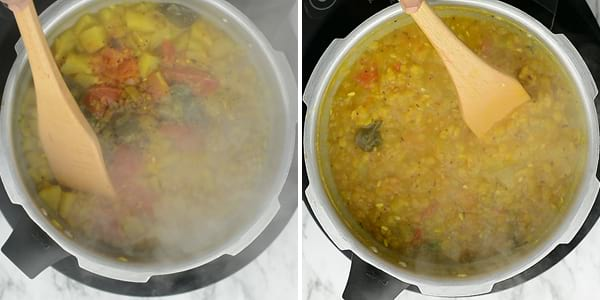 Then open the cooker user wide spoon to mash. The dal need not to be mashed nicely. And it's okay if dal is coarse in this Indian lentil recipe.