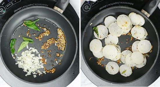 Season the Radish Sambar with mustard, curry leaves, onion and radish slices.