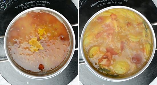 Cook radish sambar with mashed toor dal, tomatoes and radish slices.