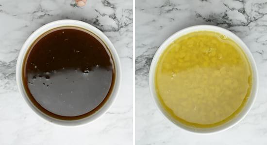 To prepare Mullangi Sambar, extract tamarind pulp and pressure cook the toor dal.