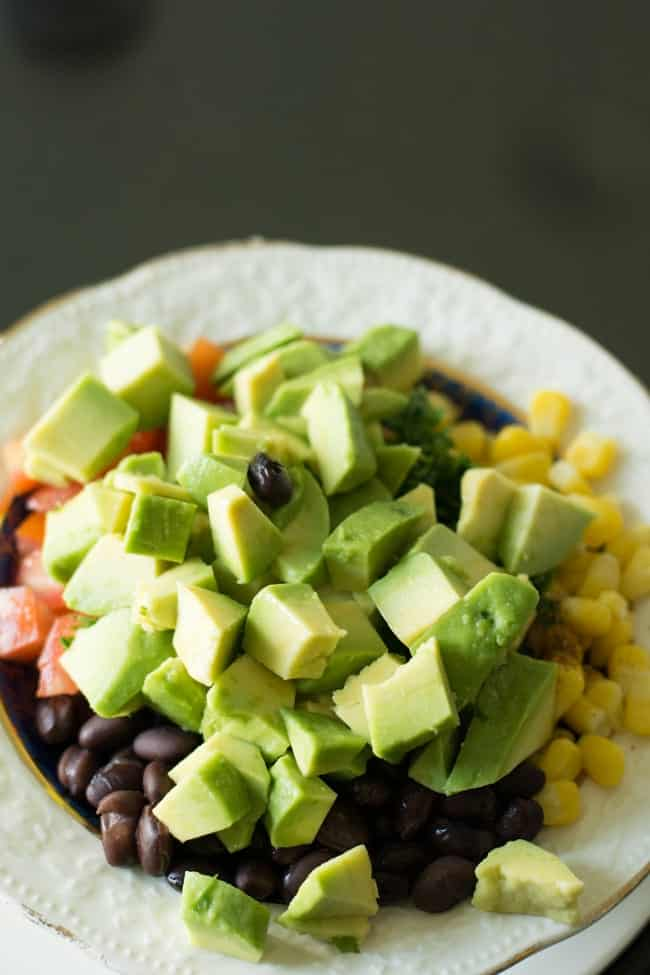 Variations for black bean corn avocado salad, add tomatoes or chicken or shrimp.