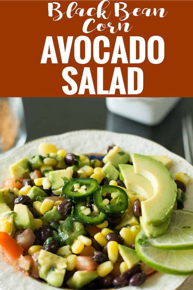 Black bean corn avocado salad lime cilantro dressing, a bright refreshing salad for serving as a side or appetizer. A great effortless addition for weeknight dinners or for game days.
