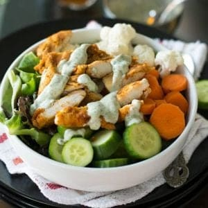Greek yogurt chicken salad is amazingly delicious. Made with spicy chicken, crunchy vegetables and mint flavored dressing. This is healthy, Paleo, Keto and also an easy to make potluck recipe.