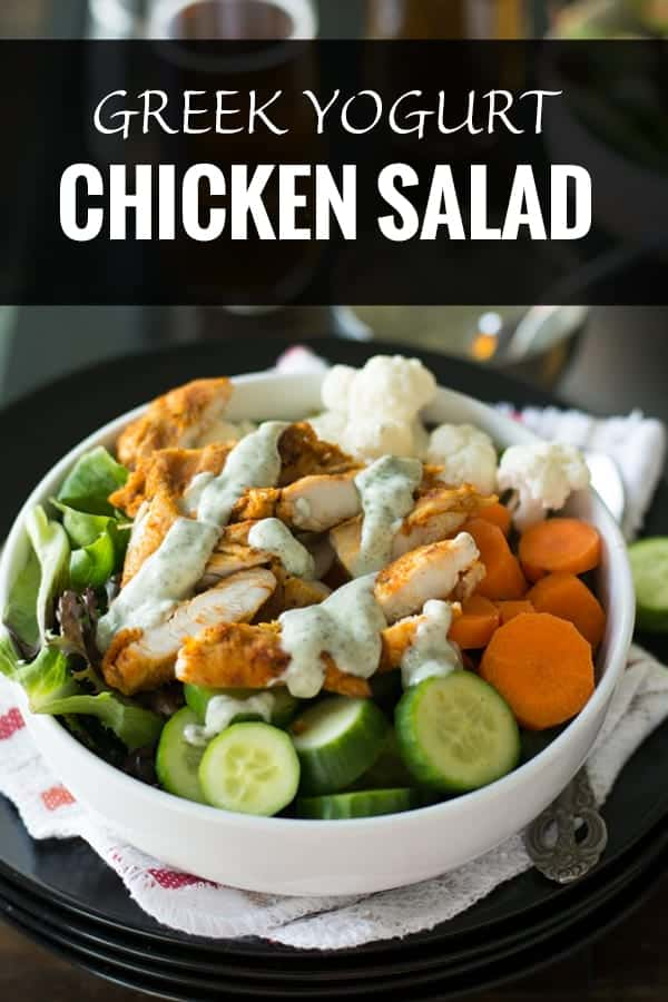 Healthy Greek yogurt chicken salad is amazingly delicious. Made with spicy chicken, crunchy vegetables and mint flavored dressing. This is healthy, Paleo, Keto and also an easy to make potluck recipe.