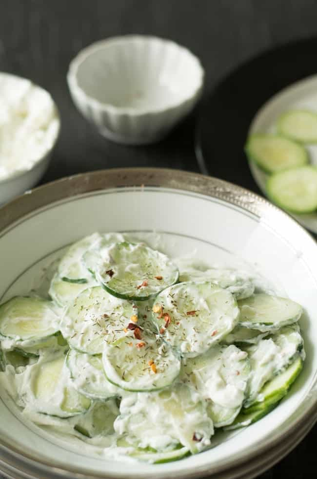Greek yogurt cucumber salad is that does not have any extra dressing, no added fancy vegetables. It is the point in the blank and has only the ingredients what it does needs.