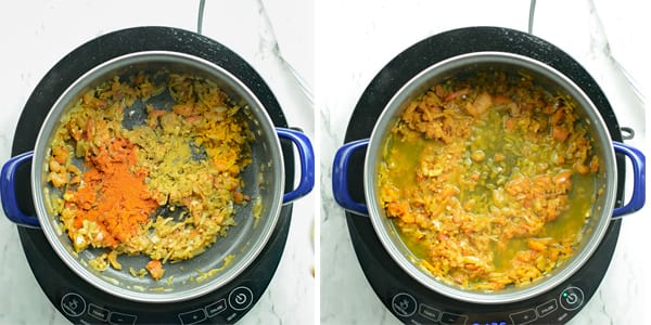 add red chili powder, coriander powder, turmeric powder. Cook it low flame till it changes its color slightly.