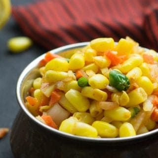 Corn chaat is actually a spiced Indian corn salad. One of the most popular Indian street food recipes made with delectable blend of chopped onion, tomato, green chili. A splendid fusion recipe of corn made in Indian style