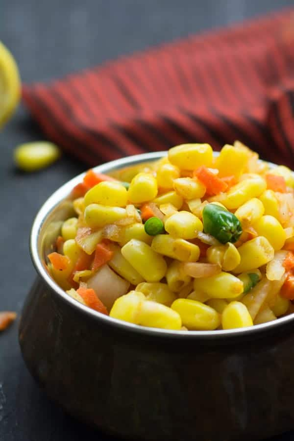 This is so effortless and humble recipe you can make it with normal ingredients available in your pantry at home. Can made with pantry available ingredients like corn kernels, onion, tomato, lemon, green chili and some fresh coriander leaves