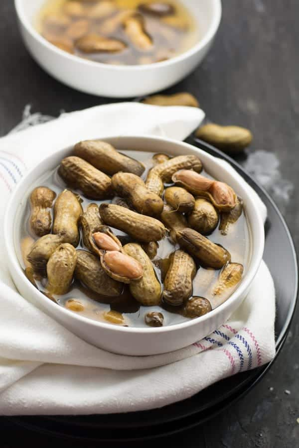 A bowl of perfectly cooked boiled peanuts with the shells on. Thanks to today's modern kitchen machines for making it possible Instant pot Boiled Peanuts.