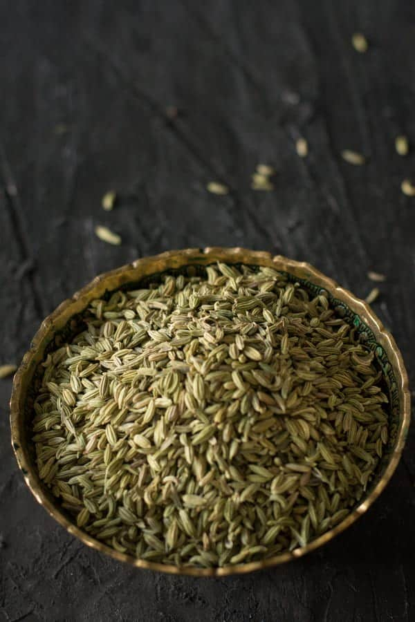 Fennel seed in a bowl, which is another essential condiment in Indian cooking which is mildly sweet and rich in Aroma. Additionally, the most favorite spice of mine after mustard and cumin seeds.